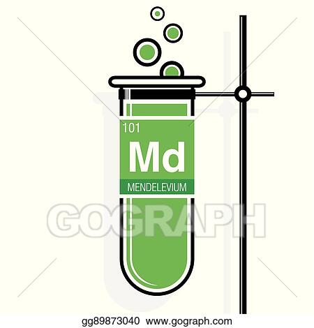 Eps Vector Mendelevium Symbol On Label In A Green Test Tube With