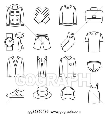 vector stock mens clothes vector line icons set stock clip art