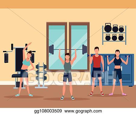 Eps illustration mens fitness doing exercise vector clipart