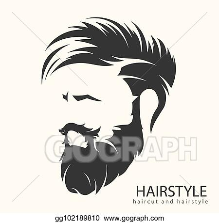 Clip Art Vector Mens Hairstyle With Beard Mustache Stock Eps