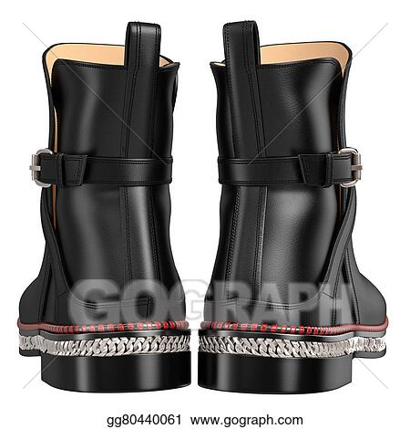 Stock Illustration Men S Leather Black Boots Back View Clipart