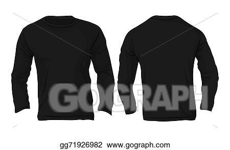 Eps Illustration Men S Long Sleeved T Shirt Template Black Color Vector Clipart Gg71926982 Gograph