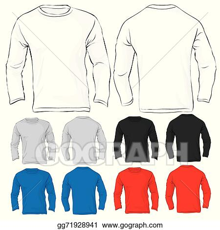 Vector Clipart - Men\'s long sleeved t-shirt template in many color ...