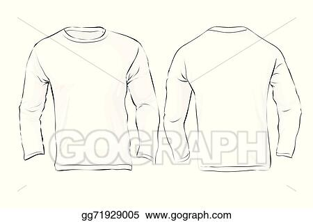 Vector Art - Men\'s long sleeved t-shirt template, white color ...