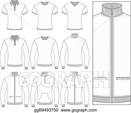 vector stock men s short and long sleeve clothes clipart
