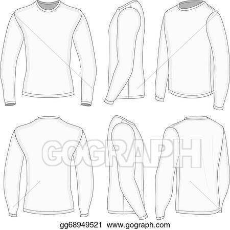 vector illustration men s white long sleeve t shirt eps clipart