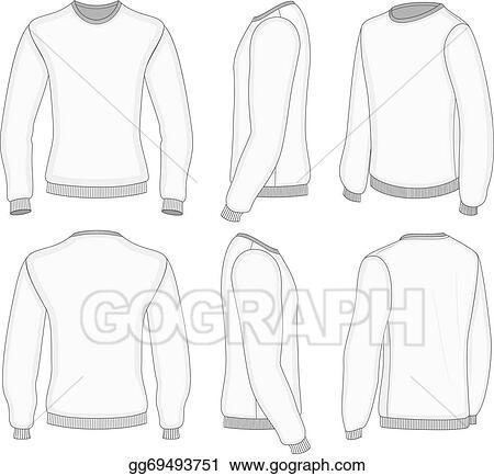 2cfce1148740 Vector Illustration - Men's white long sleeve t-shirt. Stock Clip ...