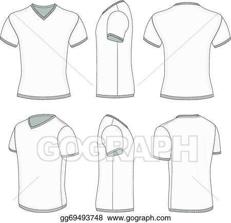 e5dbcb3f6 Vector Stock - Men's white short sleeve t-shirt v-neck. Stock Clip ...
