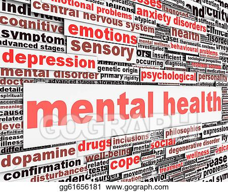 Stock Illustrations - Mental health message concept  Stock