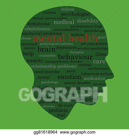 Vector Illustration - Mental health word concept  Stock Clip