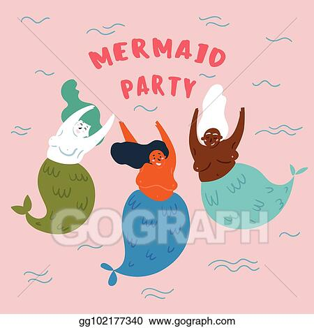 Eps illustration mermaid party invitation card underwater marine eps illustration party on the marine theme cute mermaids marine animals three woman with fish tail are dancing under the sea vector illustration stopboris