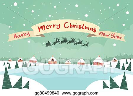 vector art merry christmas and happy new year banner santa claus sleigh reindeer eps clipart gg80499840 gograph https www gograph com clipart license summary gg80499840