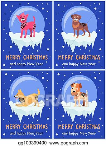 Christmas Beagle Clipart.Vector Illustration Merry Christmas And Happy New Year