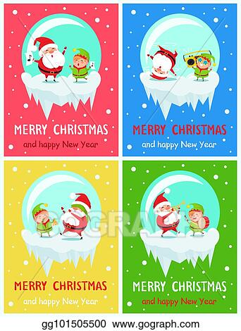 Vector Art Merry Christmas And Happy New Year Greeting Cards