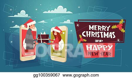 merry christmas and happy new year poster with couple giving gift box through cell smartphone screen