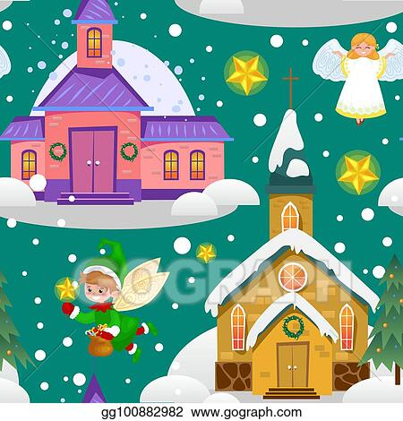 Christmas Clip Art Religious.Vector Stock Merry Christmas And Happy New Year Seamless