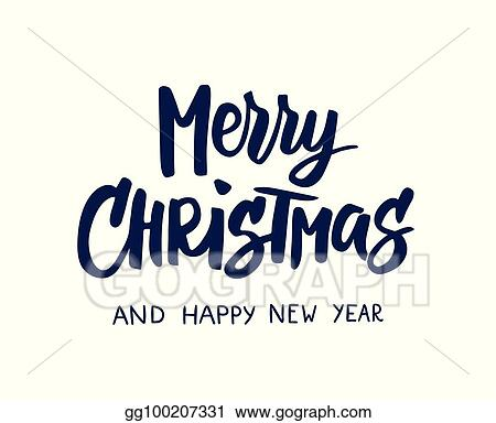 Merry christmas and happy new year text
