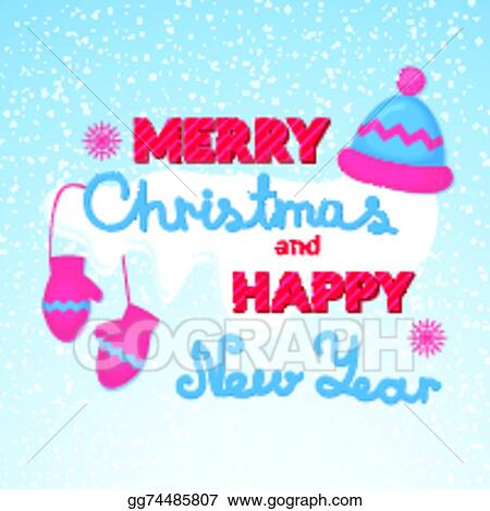 merry christmas and happy new year vector holiday inscription