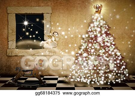 Stock Illustration Merry Christmas Card Vintage Style Clipart