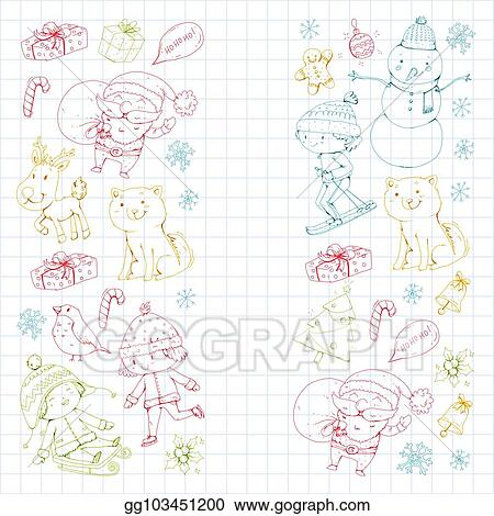 Christmas Celebration Images For Drawing.Clip Art Vector Merry Christmas Celebration With Children