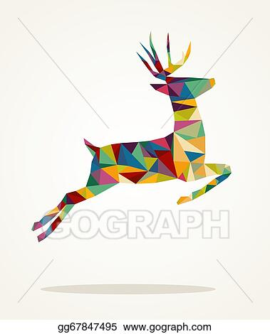 Reindeer Christmas Cards Drawings.Vector Art Merry Christmas Contemporary Triangle Reindeer