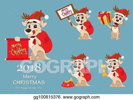 EPS Illustration - Merry christmas. cute dog wearing santa claus hat ...