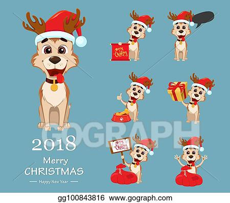 EPS Illustration - Merry christmas. cute dog wearing santa claus hat ...