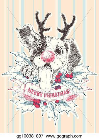Christmas Beagle Clipart.Vector Illustration Merry Christmas Greeting Card Happy