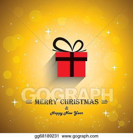 Christmas Gift Card Poster.Vector Art Merry Christmas Greeting Card Poster With Gift