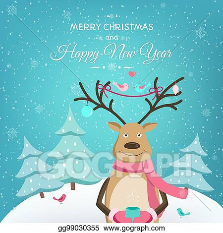 merry christmas happy new year card template deer