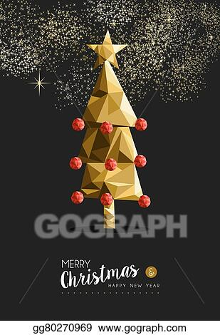eps illustration merry christmas happy new year golden tree low
