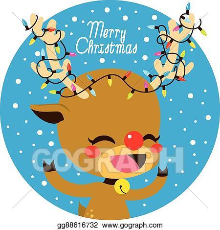 Vector Illustration Merry Christmas Lights Deer Stock