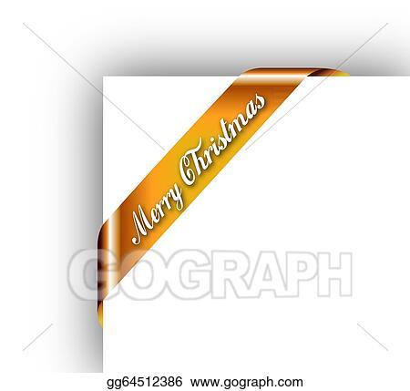 Merry Christmas Ribbon Clipart.Vector Art Merry Christmas Ribbon Or Tag For Image Framing