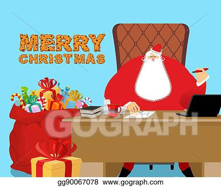 Merry Christmas Boss.Vector Art Merry Christmas Santa Claus At Work Big Red