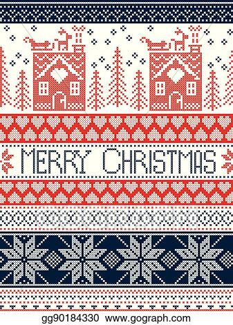 Merry Christmas In Norwegian.Vector Illustration Merry Christmas Scandinavian Textile