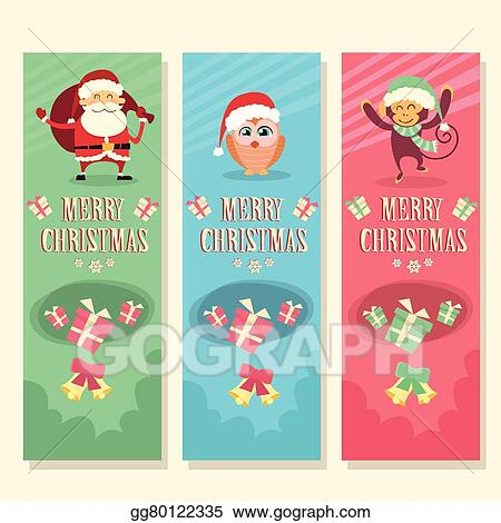 merry christmas vertical banner greeting card and happy new year set santa claus owl monkey