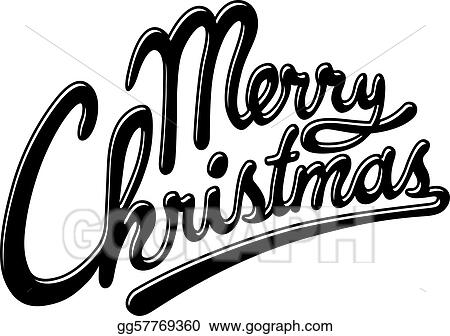 Merry Christmas Writing Clipart.Vector Stock Merry Christmas Clipart Illustration
