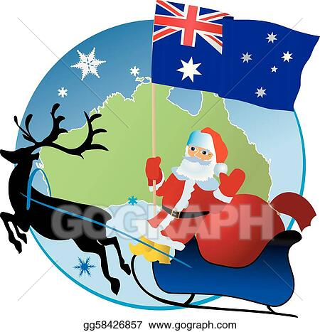Christmas In Australia Santa.Vector Art Merry Christmas Clipart Drawing Gg58426857