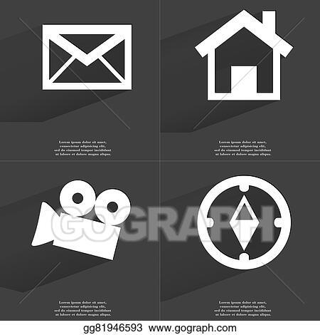 Stock Illustration Message House Film Camera Compass Symbols