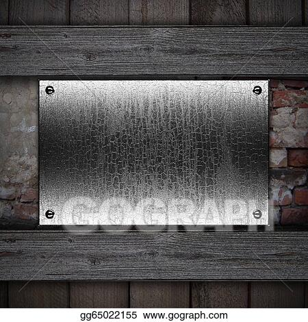 stock illustration metal plaque on a wooden background design
