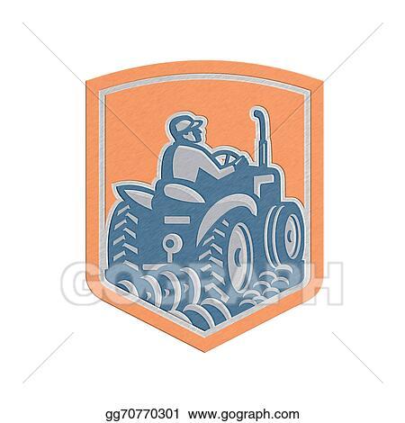 Clipart Metallic Farmer Driving Tractor Plowing Farm