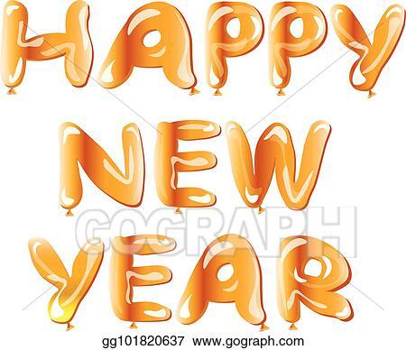 metallic gold balloon happy new year