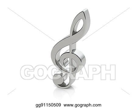 Stock Illustration Metallic Music Note Symbol Clipart