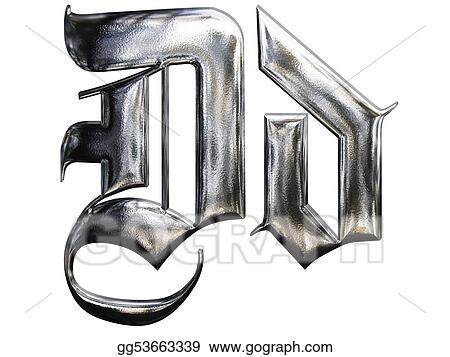 Metallic Patterned Letter Of German Gothic Alphabet Font D