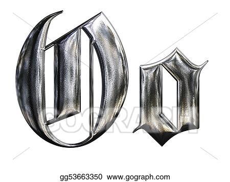 Metallic Patterned Letter Of German Gothic Alphabet Font O