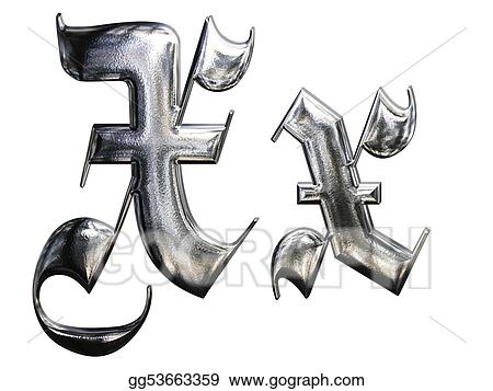 Metallic Patterned Letter Of German Gothic Alphabet Font X