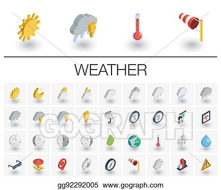 Vector Illustration Meteo And Weather Isometric Icons 3d Vector Eps Clipart Gg92292005 Gograph