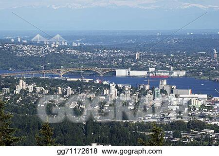Picture - Metro vancouver area with burrard inlet  Stock