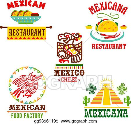 Eps Vector Mexican Cuisine Restaurant Vector Icons Set Stock