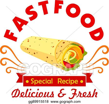 Vector Stock Mexican Fast Food Burrito Symbol For Cafe Design